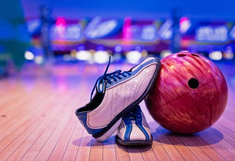 Bowling ball with shoes